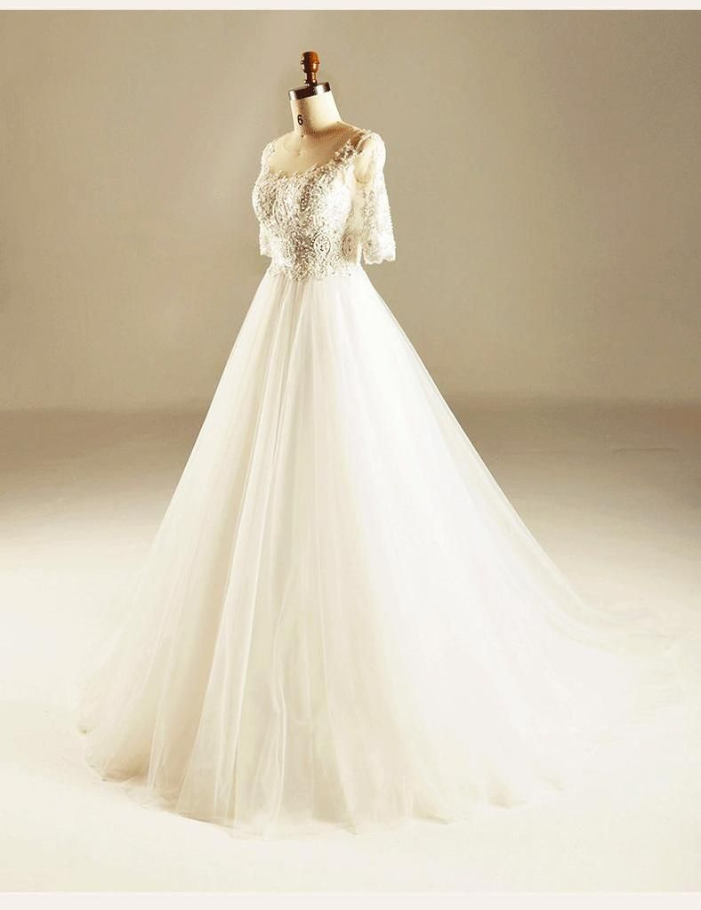 Custom made wedding dress  Long Sleeve Empire Lace Beaded Wedding Dresses Custom Made Wedding