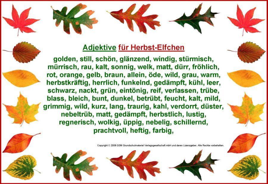 Adjektive Fur Ein Herbst Elfchen Herbst German Language
