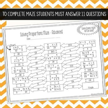 Proportions Maze Advanced Solving Proportions Proportions Worksheet Maze Solving proportions worksheets