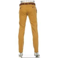 Photo of Pantalón chino Alberto Rob para hombre, corte entallado, algodón T400, amarillo de latón Alberto