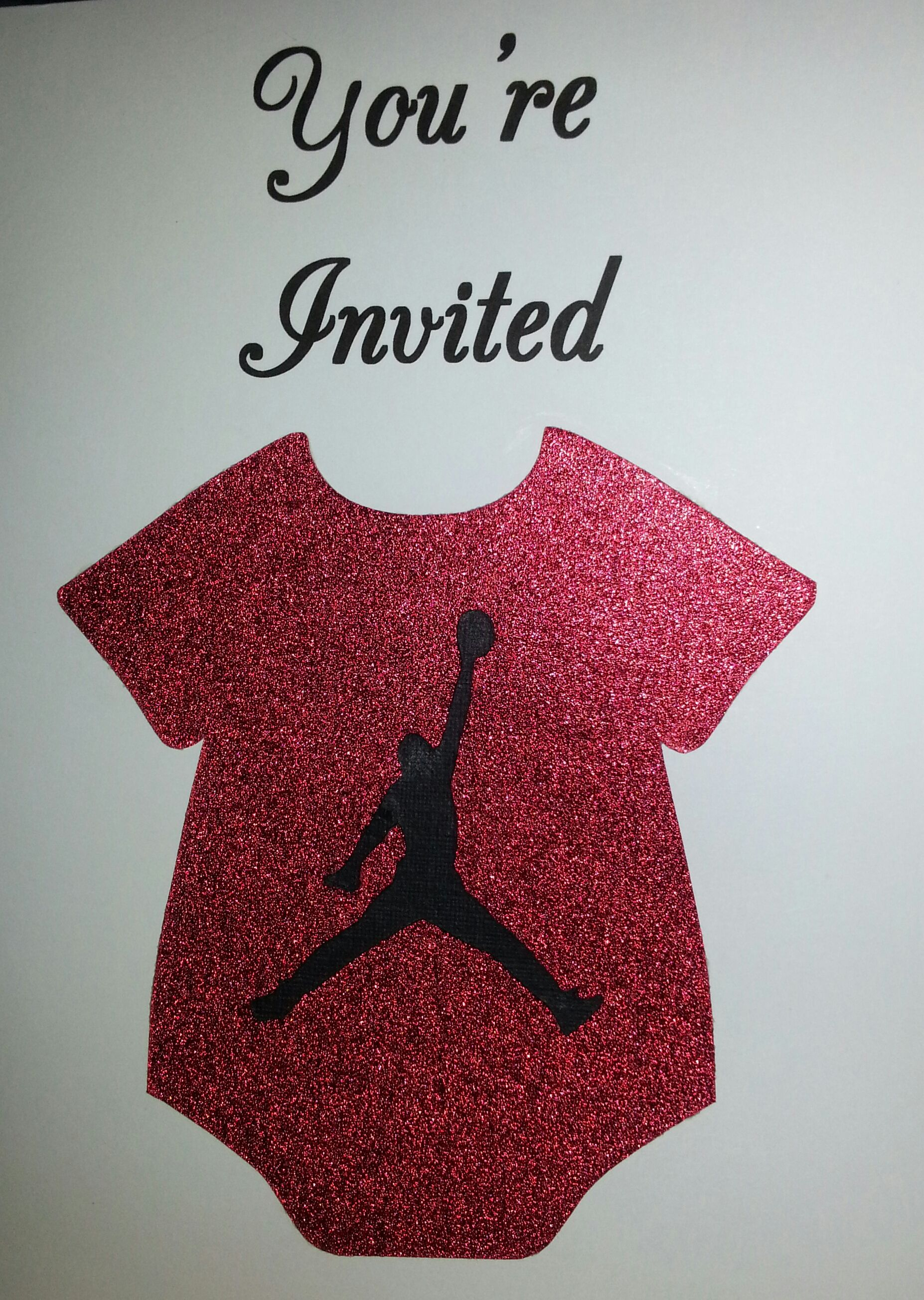 Jordan theme invite 2 red sparkle onesie cutout with jumpman babyshower jordan theme invite 2 red sparkle onesie cutout with jumpman symbol buycottarizona Gallery