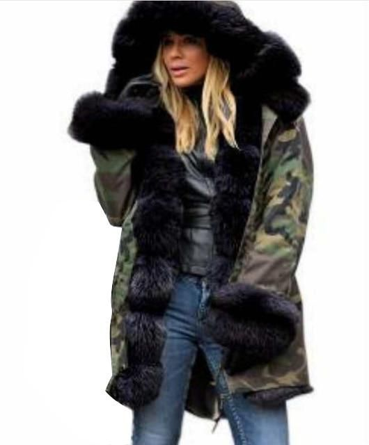 Camouflage winter jacket women outwear parka fur collar lady coat plus size Slim fit Warm Long coat fashion winter clothes women