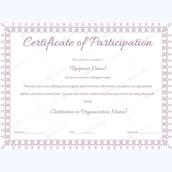 Simple Participation Certificate Certificate Certificatetemplate