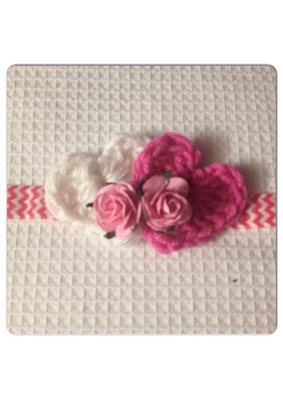 Crochet heart headband  pink or purple  by LittlePeepsCloset