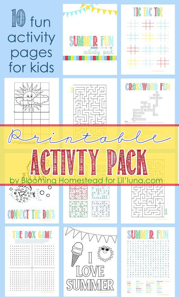 Printable Summer Activity Pack Best Of Pinterest Kids Travel