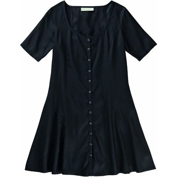 Dress (520.480 IDR) ❤ liked on Polyvore featuring dresses, tops, vestidos, blue short sleeve dress, short sleeve dress, adidas neo, blue dress and button dress