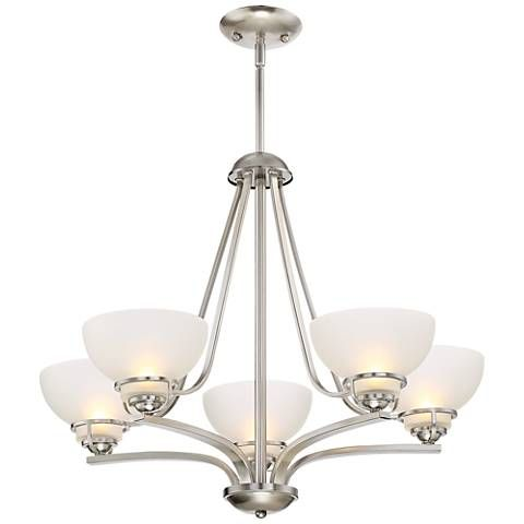 Calpella 24 3 4 wide brushed nickel 5 light chandelier 9h770