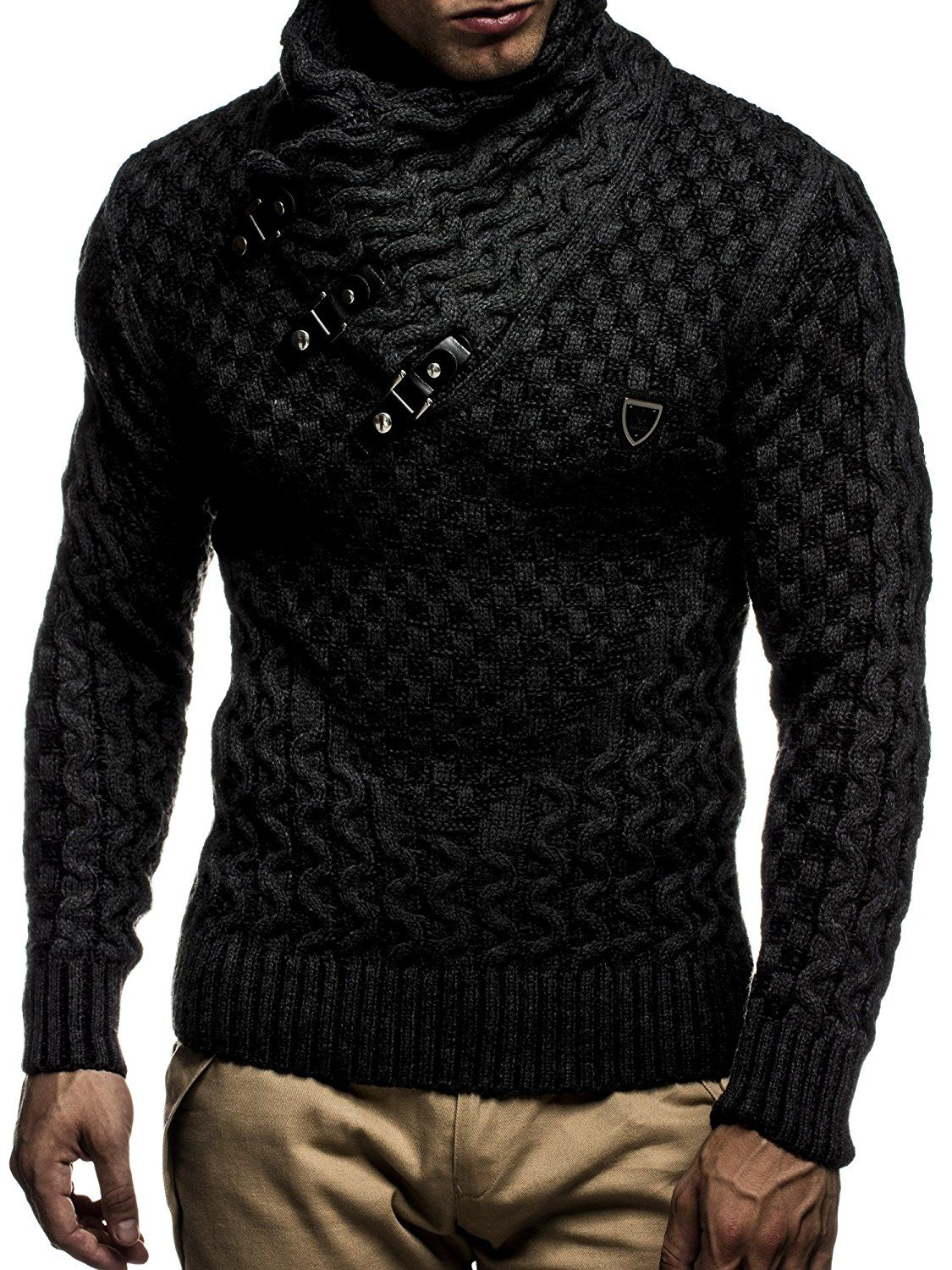 Leif Nelson LN5255 Men s Pullover With Faux Leather Accents  Size US - S EU  - M, Black Anthracite at Amazon Men s Clothing store  40e1479ec7