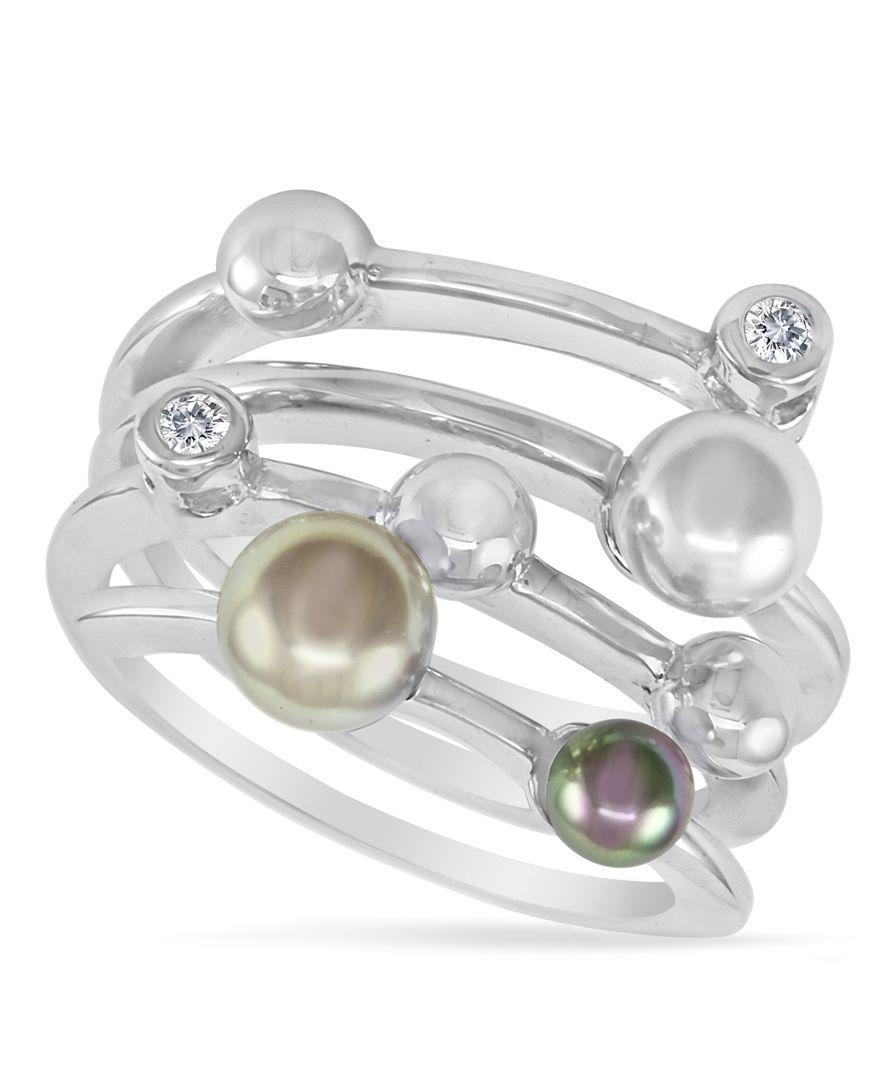 Majorica endless pearl ring sterling silver multicolor organic man