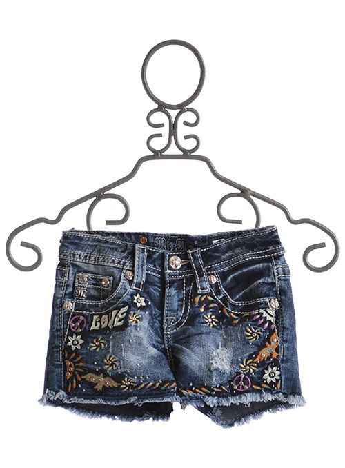 miss me shorts for girls love peace embroidery 7200