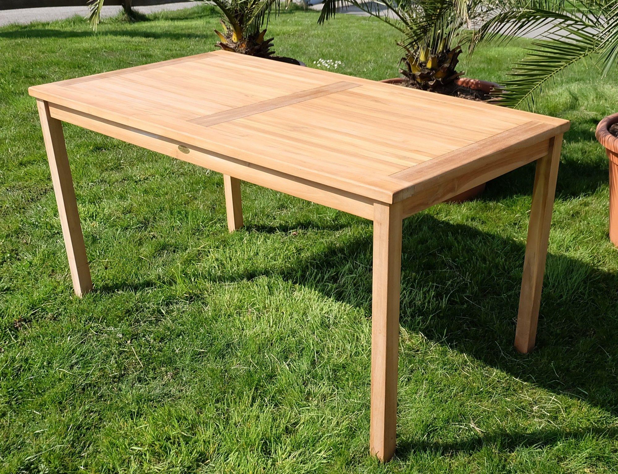 Teakholz tisch garten  TEAK XL Holztisch Gartentisch Garten Tisch 150x80cm Gartenmöbel Holz ...