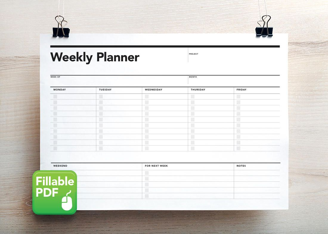 Fillable Weekly Planner Student Agenda Printable To