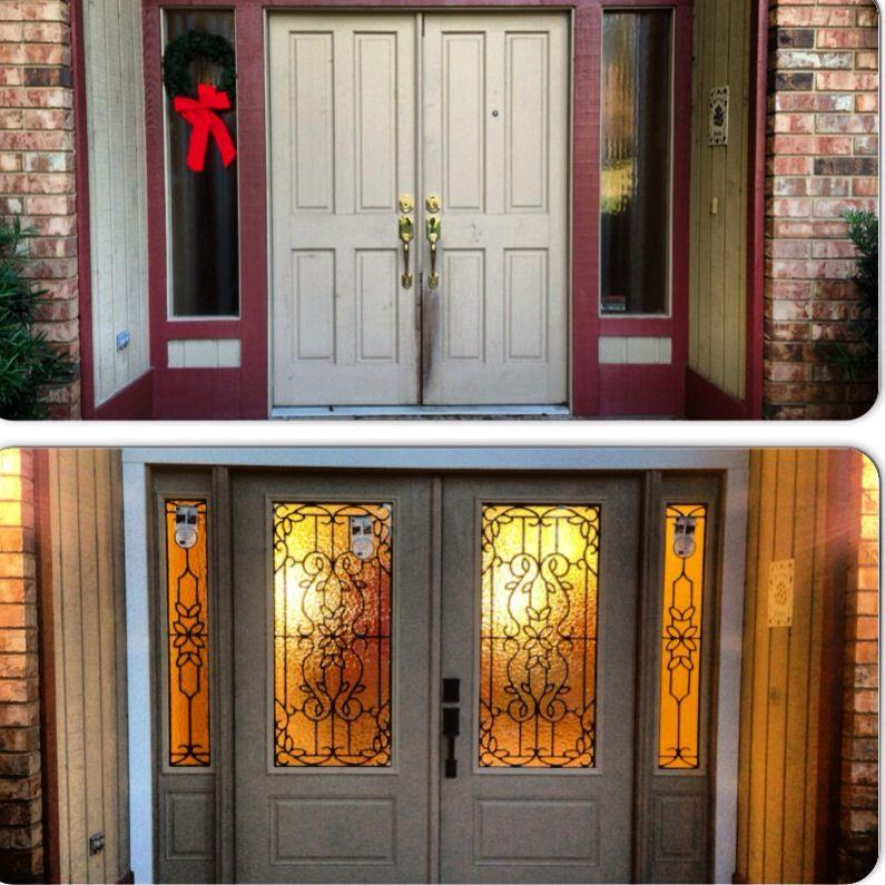 Before U0026 After Shot Of A Recent #entry #door #retrofit In #Gainesville  #Florida. PlastPro Fiberglass Doors With ODL Wrought Iron Glass.