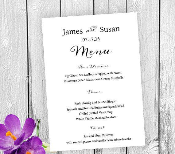 Wedding Menu Template Printable Editable 5x7 Wedding Menu Template - ms word menu template