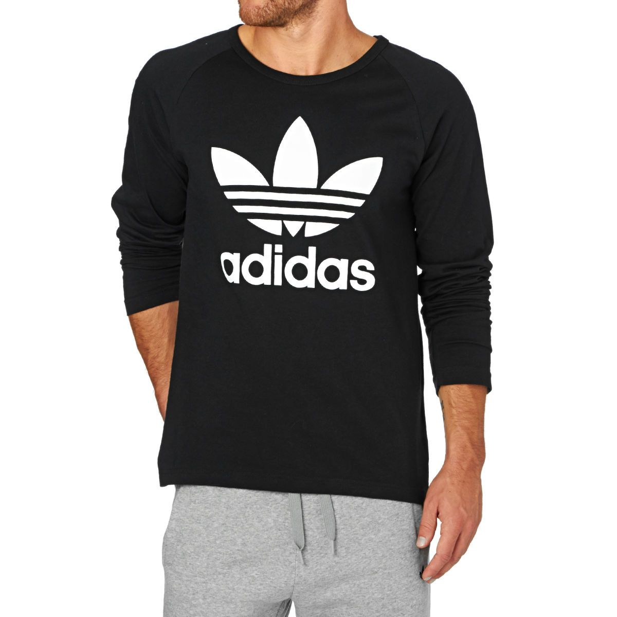 Adidas Originals Trefoil Long Sleeve T-Shirt - Black