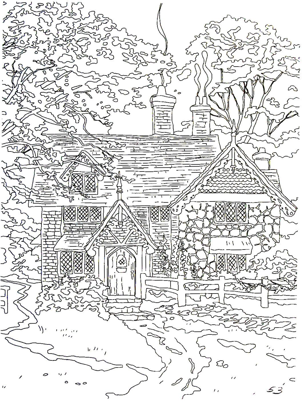Gingerbread cottage thomas kinkade painting coloring book printable page