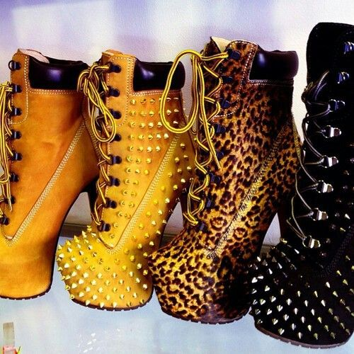 timberland boots with spikes and leopard