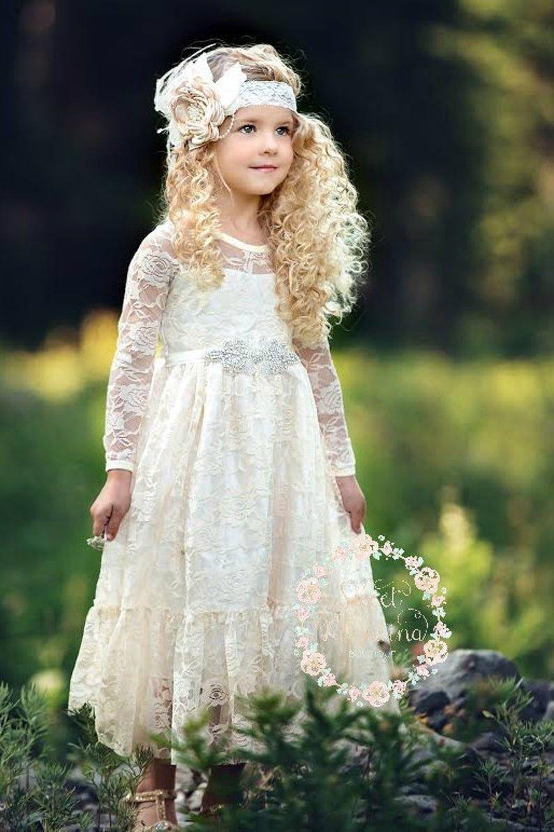Lace flower girl dress long sleeve boho flower girl dress