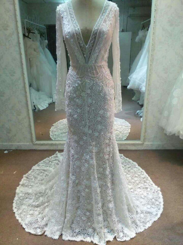 Spectacular Darius Cordell New Long Sleeve Wedding Dress Inspired by Inbal Dror Size Wedding Dress