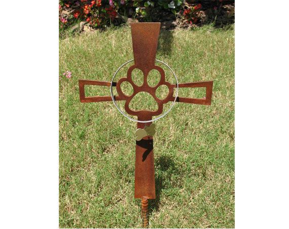 Pet Memorial Cross Garden Stake   Dog   Metal Yard Art   Metal Garden Art
