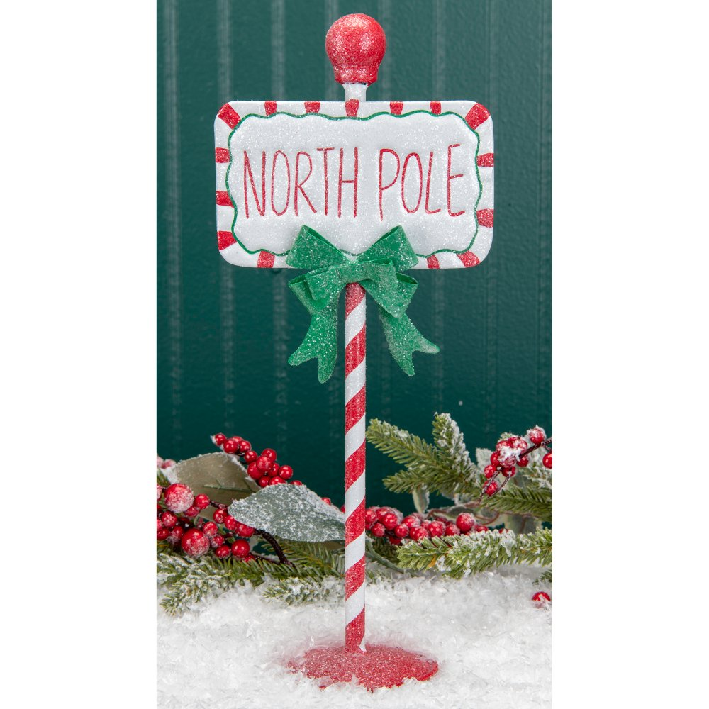 Red Green And White Metal North Pole Sign On Stand North Pole Sign Office Christmas Decorations Cubicles Office Christmas Decorations