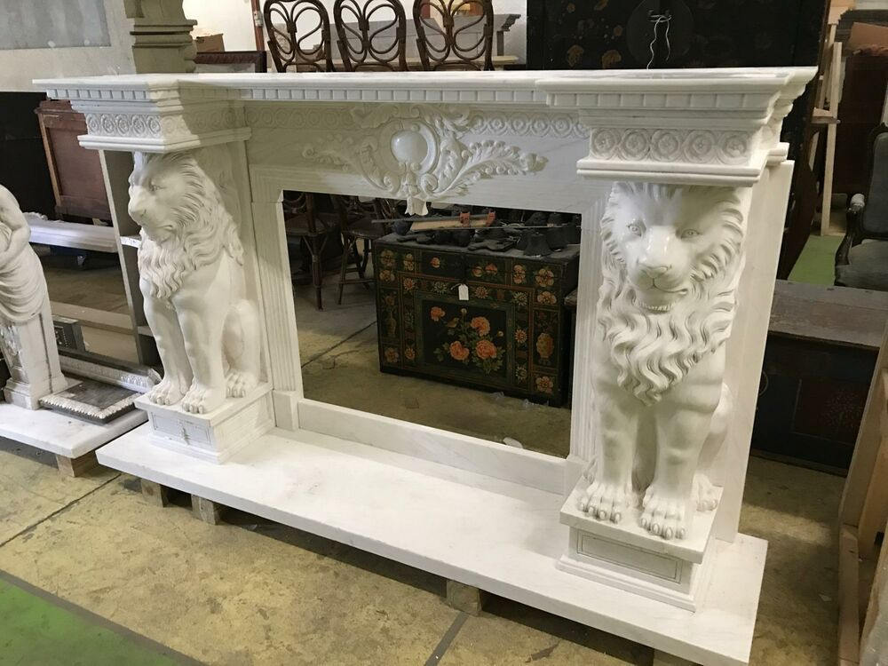 Beautiful Carved Large Marble Lion Estate Fireplace Mantel Fam4 Unbranded In 2020 Marble Fireplace Mantel Fireplace Fireplace Mantels