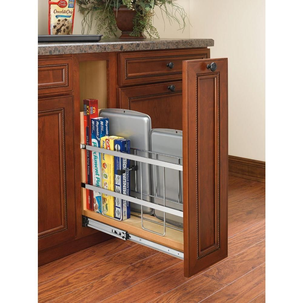 Rev A Shelf 20 In. H X 5 In. W X 22 In. D Pull Out Wood Base Cabinet Tray  Divider And Foil U0026 Wrap Organizer