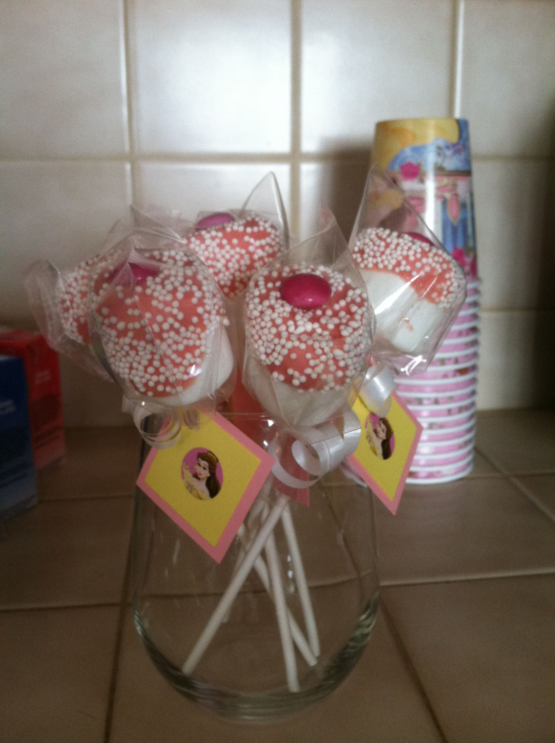 Princess belle marshmallow pops