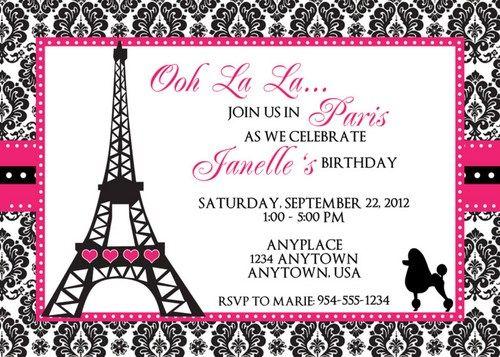 Paris Birthday Invitation Template Paris Invitations Birthday Invitation Card Template Printable Birthday Invitations