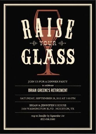Vintage Wine Glass RetirementPartyInvitations  Retirement