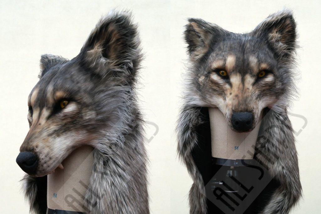Fake Taxidermy Wolf Headdress By