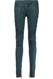 BalmainPaneled washed cotton-blend skinny pants