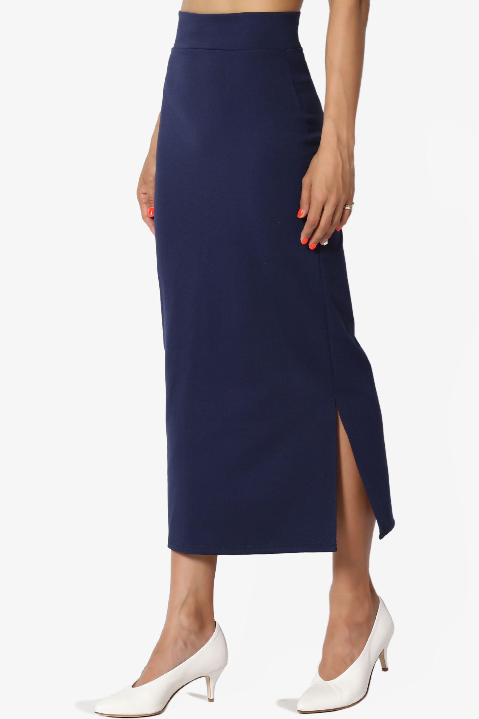 3bf70f6c0c TheMogan Women's S~3X Side Slit Ponte Knit High Waist Mid Calf Long Pencil  Skirt #Ad #Slit, #AFFILIATE, #Ponte, #Knit