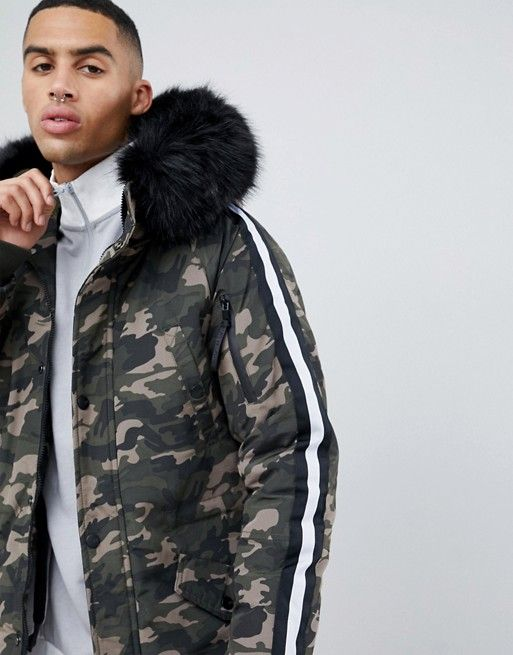 a8e4966fd Sixth June parka coat in camo with black faux fur hood | asos men ...