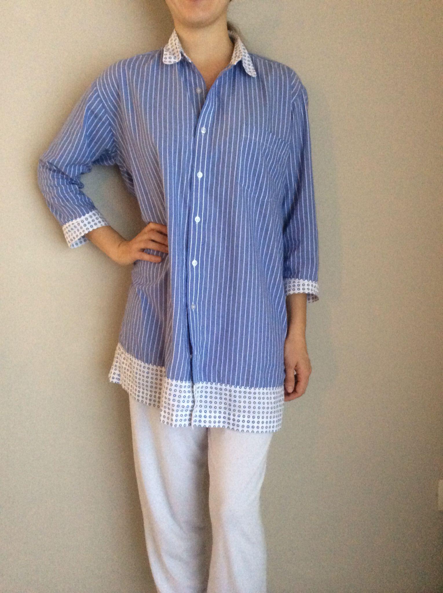 Reciclaje  de camisa de hombre a pijama de mujer 018734f71685e