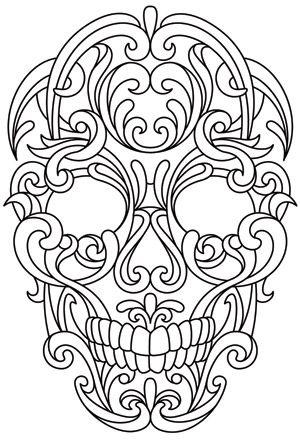 Scrollwork Skull design (UTH8275) from UrbanThreads.com