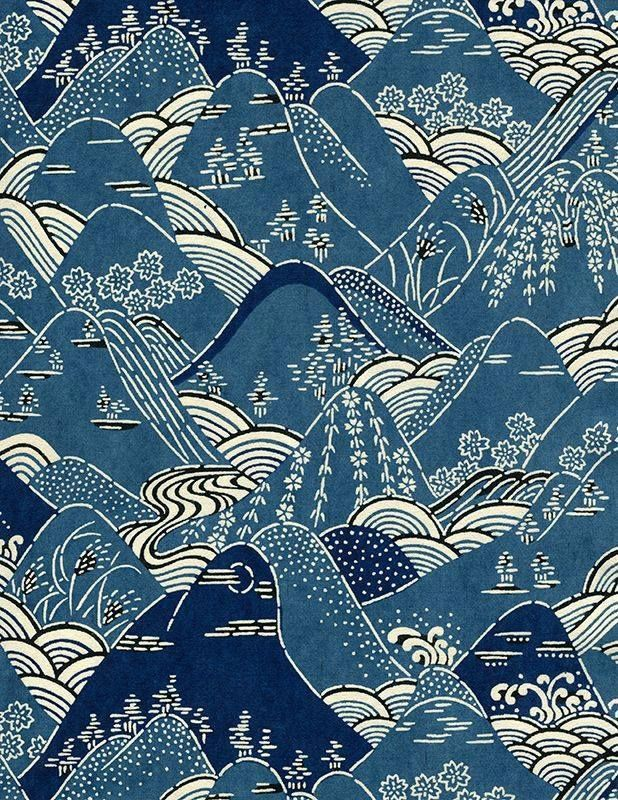 Mountains Japanese Kimono Pattern Design Early 20th