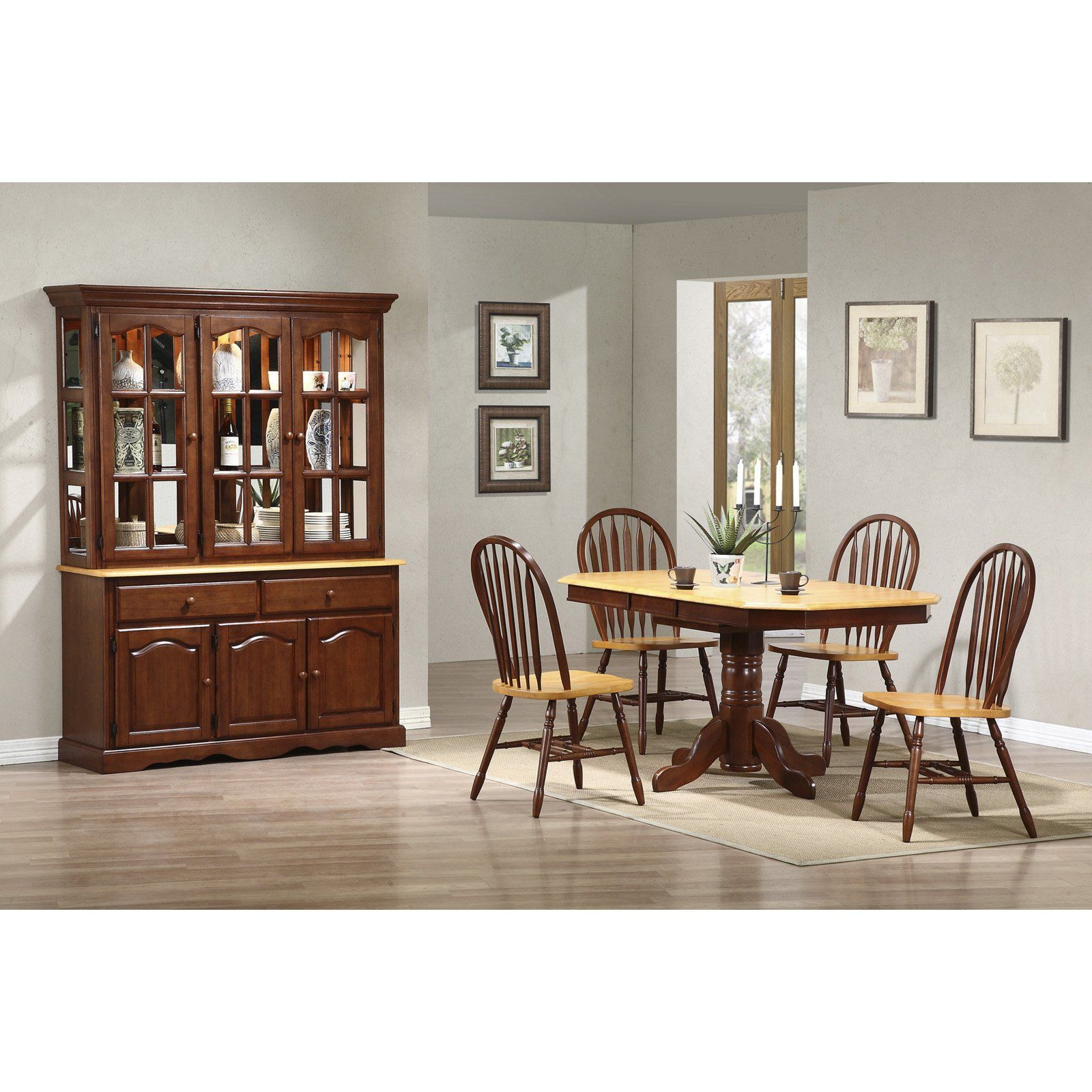 Sunset trading piece pedestal extension dining set with china
