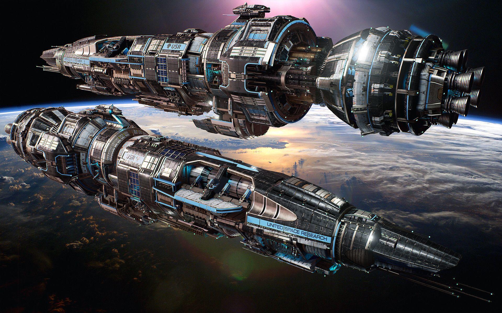http://bit.ly/1VuOxDp on ArtStation byHans Palm: USR Ares  Legendary tier Destroyer skin  Fractured Space. #spaceship #videogame #scifi #spacewar