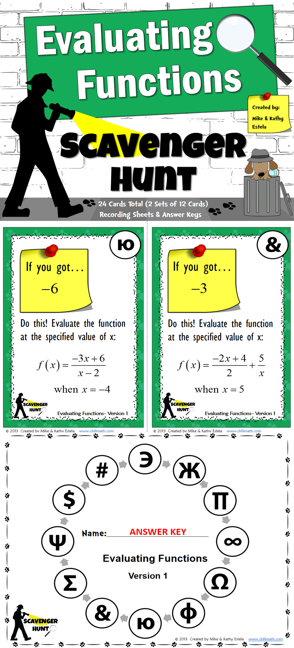 hight resolution of Evaluating Functions {Scavenger Hunt}   Free math lessons