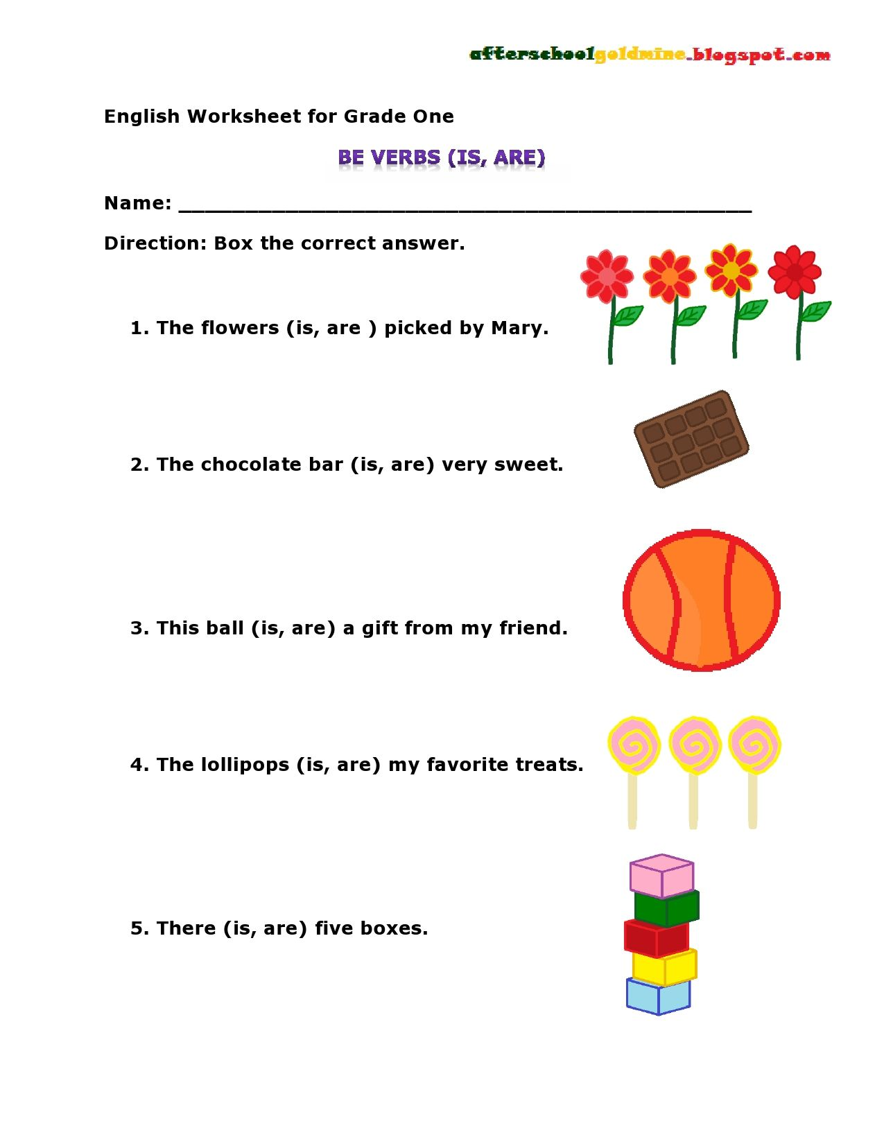 Be Verbs Worksheet Is Are