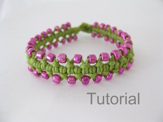 Beaded bracelet pattern macrame tutorial pdf green pink Xmas gift how to knot micro makrame tuto instructions easy step by step jewelry diy