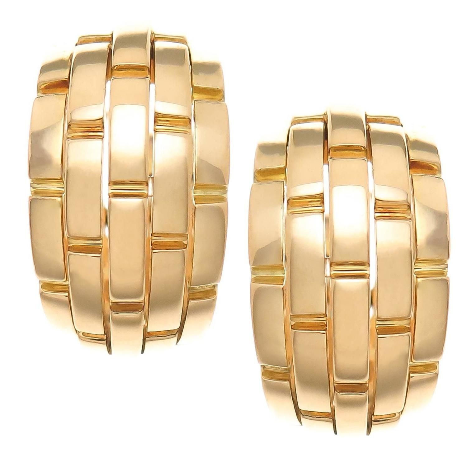47fdb3b70d533 Cartier Maillon Panthere Gold Earrings in 2019 | Unique Earrings ...