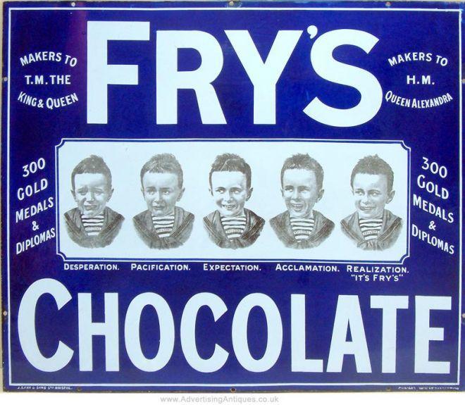 Frys Five Boys Chocolate Enamel Sign Vintage Ads