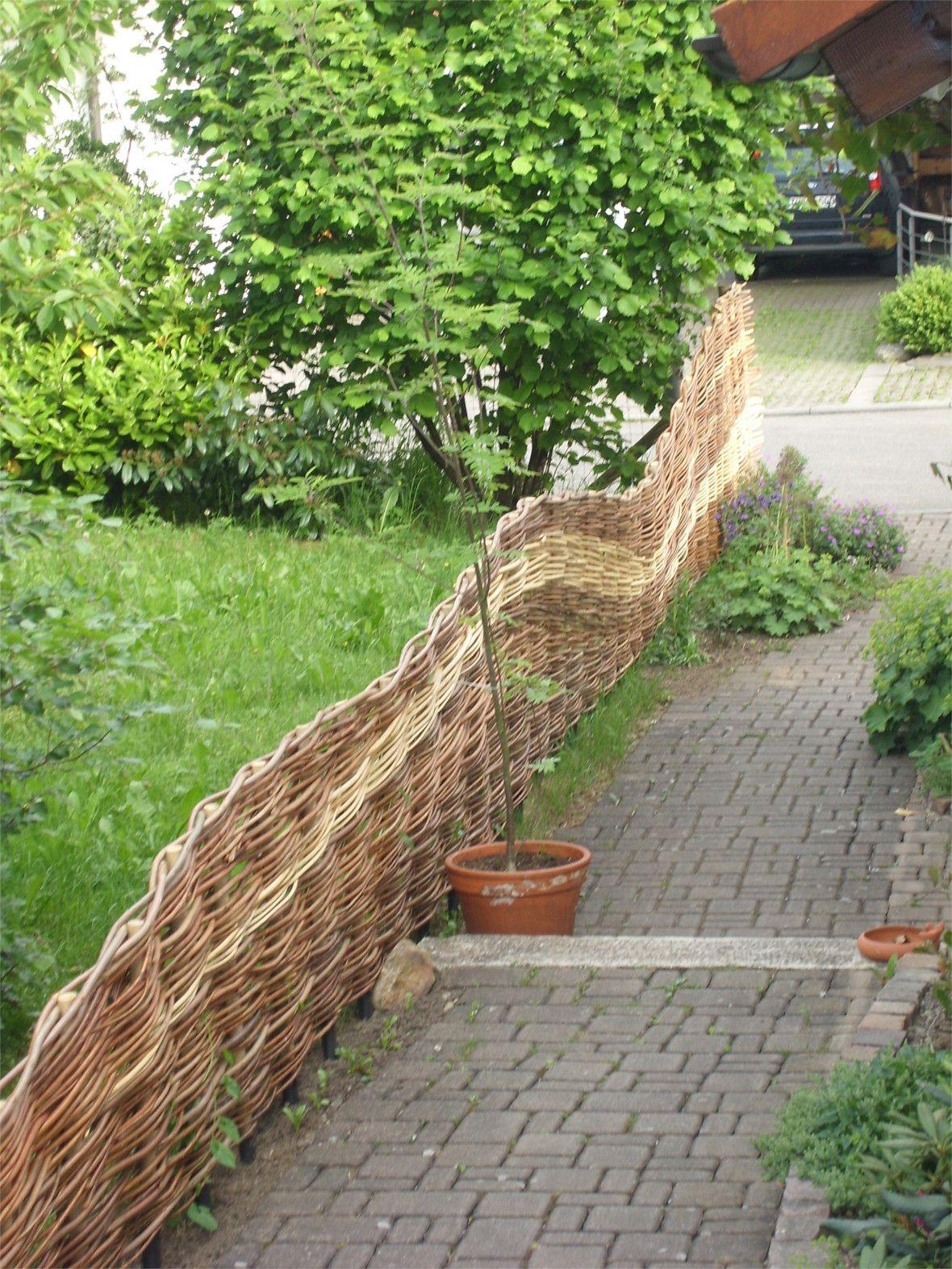 weidenzaun flechtzaun grundstücksbegrenzung www.weidenflechter.de