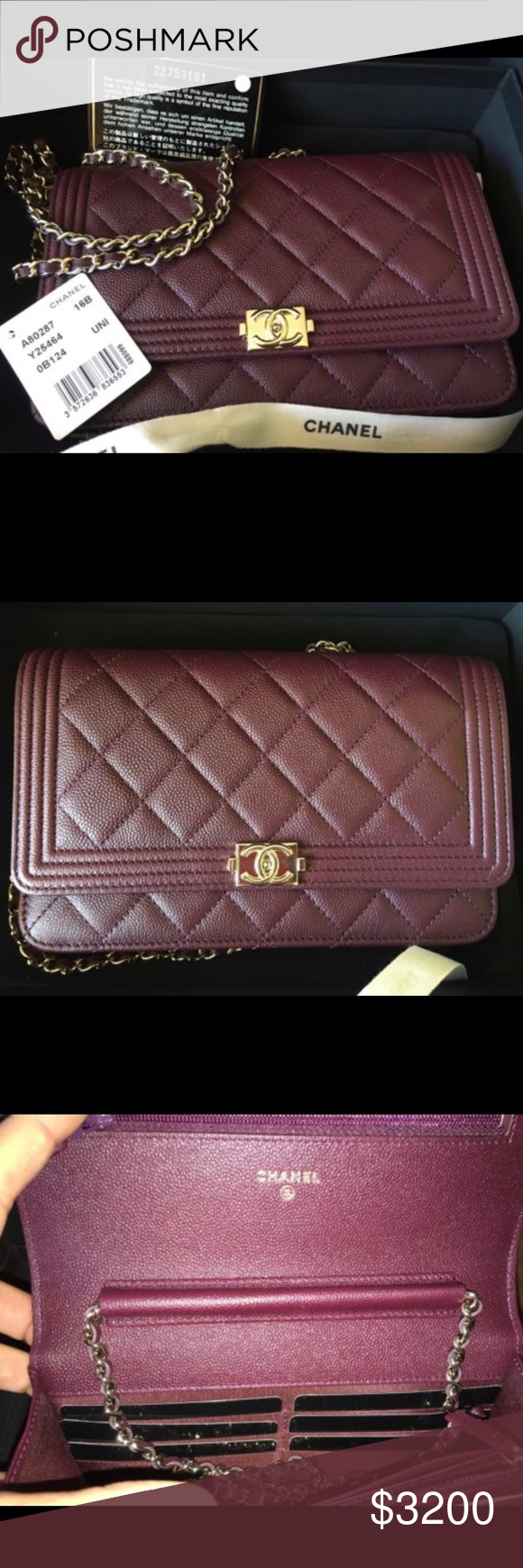 e292313de74d Chanel Boy Burgundy Woc Brand new authentic with tags. No receipt available  comes with authentication
