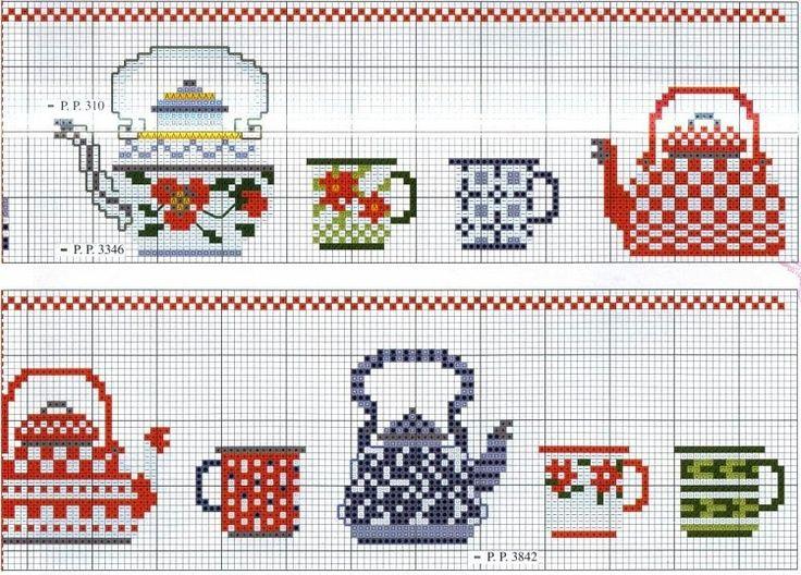 Resultado de imagen para teapot cross stitch pattern free