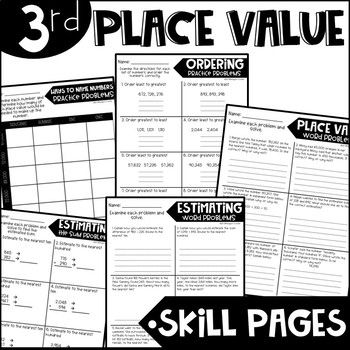 Third Grade Skill Pages Place Value in 2020 | Guided math ...