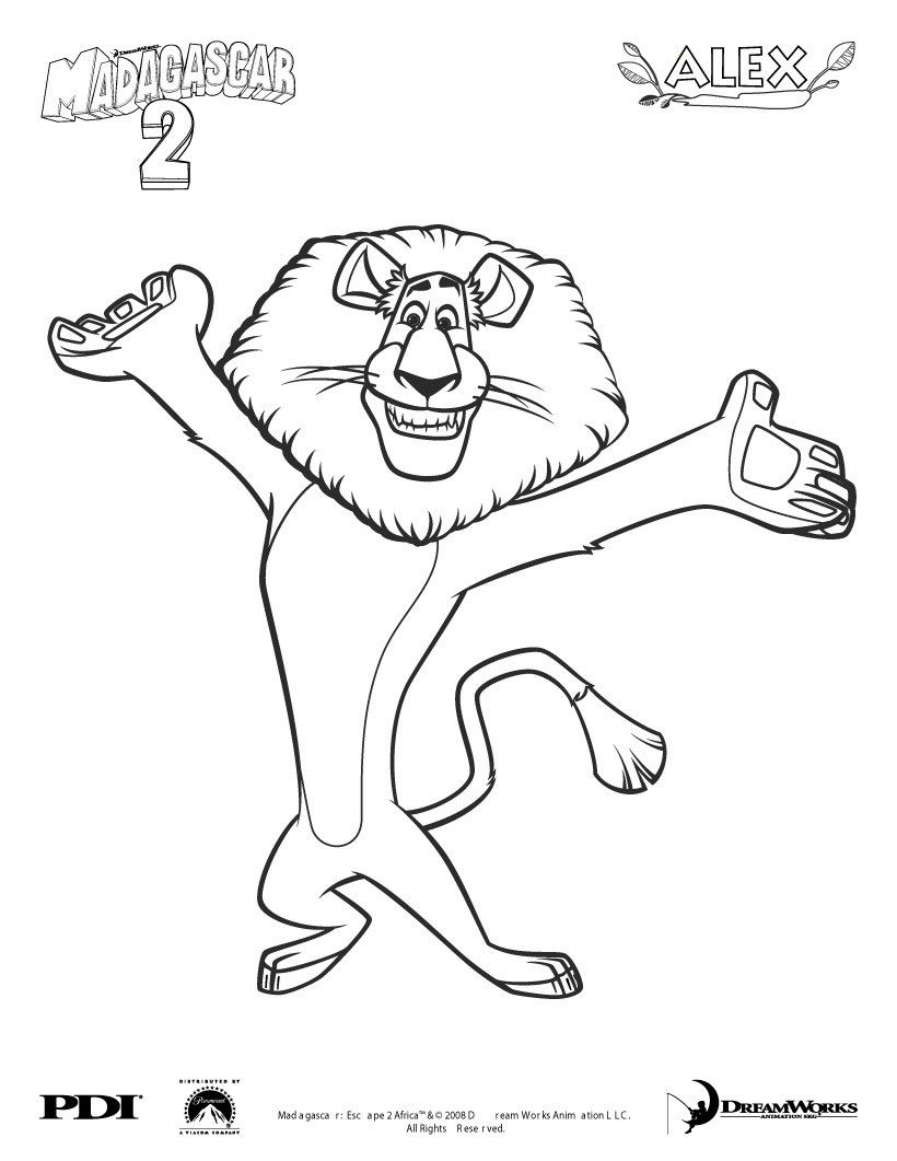 madagascar 2 alex coloring page coloring famous character coloring pages madagascar 2 - Madagascar Coloring Pages