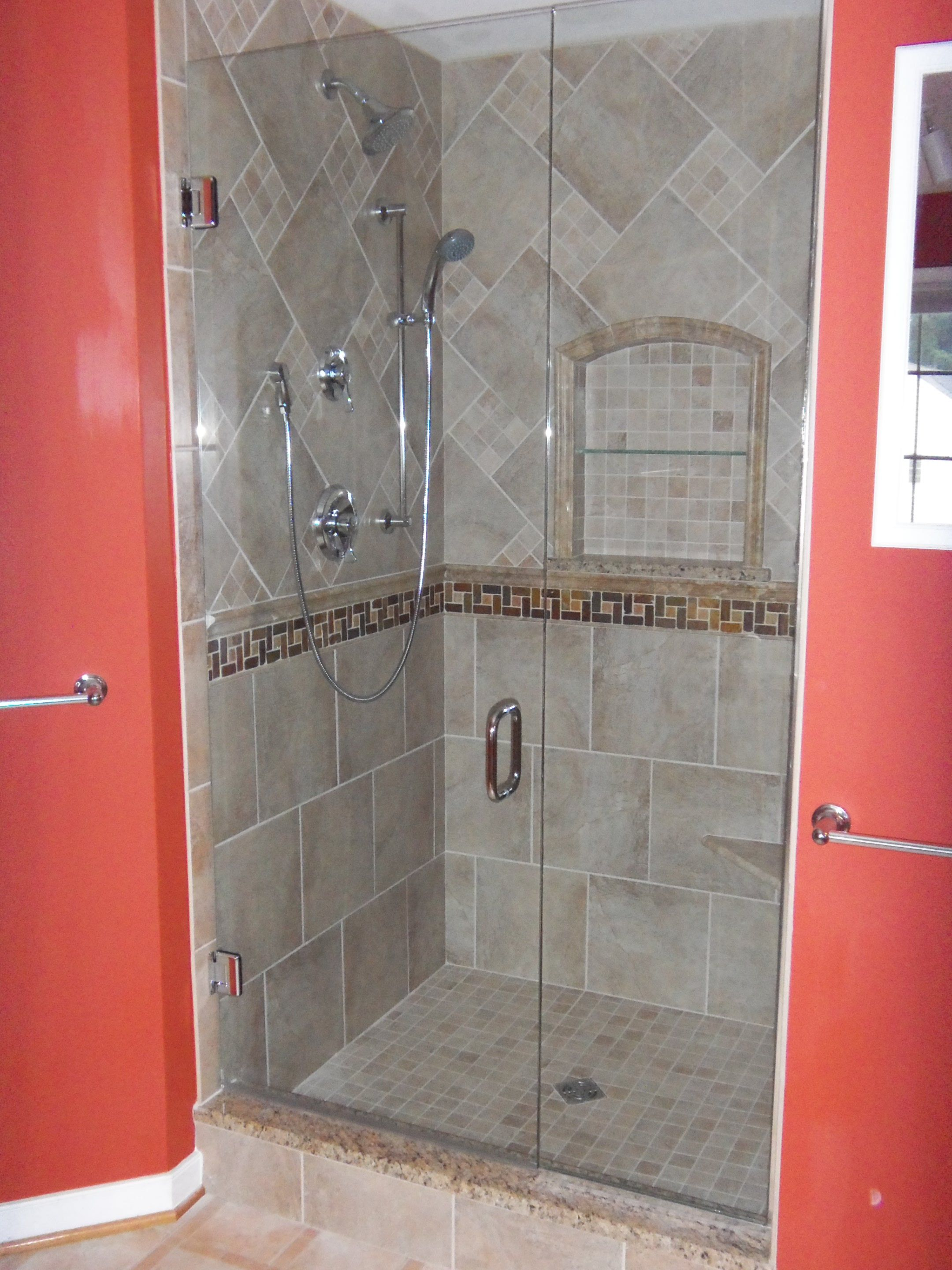 Chic red bifold bathroom door with stainless steel pull for Bathroom porcelain tile designs